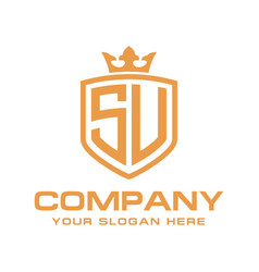 Letter su initial with shield and crown luxury lo vector