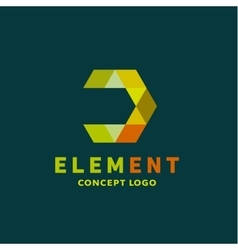 Logo element volume and flat polygon style vector
