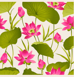 Lotus flowers and leaves watercolor vector