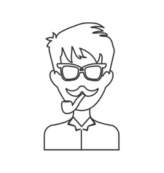 man avatar icon Hipster style concept vector image