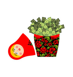 matryoshka and money cash and russian national vector image
