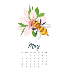 may 2018 year calendar page vector image