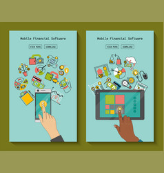 mobile financial software for phone and tablet vector image