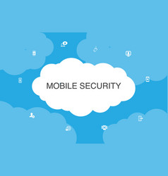 Mobile security infographic cloud design template vector