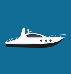 Modern white boat for short distance cruises vector