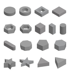 Monochrome set of geometric shapes platonic vector