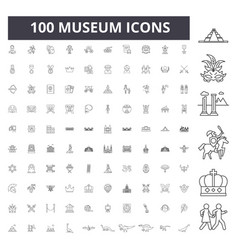 Museum line icons signs set outline vector