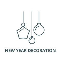 new year decoration line icon linear vector image