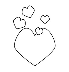 Outlined hearts love vector