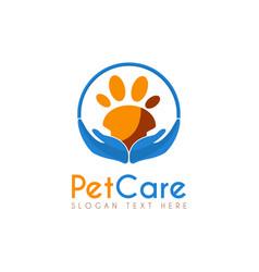 Pet care circle logo icon symbols and app icon vector