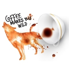 Poster wild coffee wolf vector image