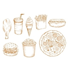 Retro stylized sketch fast food lunch vector