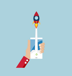 rocket launch from mobile start up business vector image