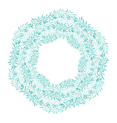 round wreath of green branches frame of delicate vector image