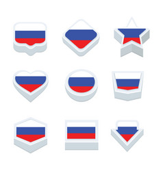 russia flags icons and button set nine styles vector image