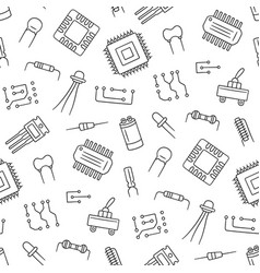 Seamless pattern from electrical components vector