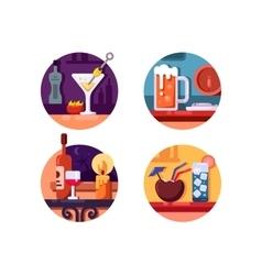 Set alcoholic beverages vector