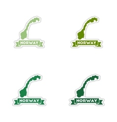 Set of paper stickers on white background Norway vector