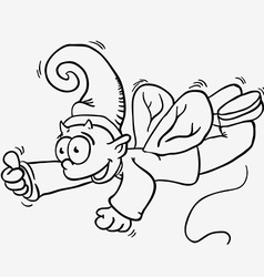 simple black and white flying elf vector image
