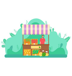 Spring market character selling vegetables outdoor vector