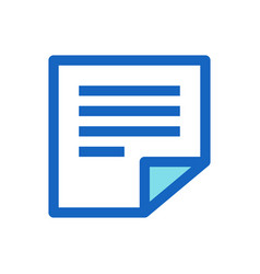 sticky notes memo filled line icon blue color vector image