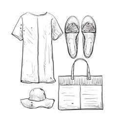 Summer doodles clothes vector