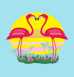 Sunset and pink flamingos vector
