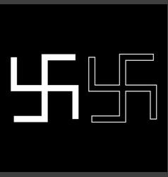 Swastika fylfot icon set white color flat style vector