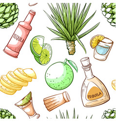 tequila drink seamless pattern beverage bar vector image