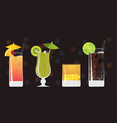 tequila sunrise kiwi mojito tiger juice and cuba vector image