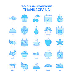 Thanksgiving blue tone icon pack - 25 icon sets vector