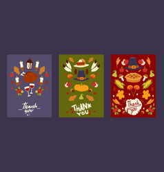 thanksgiving holiday set cards posters with vector image