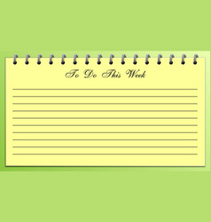 things to do list this week yellow on green vector image