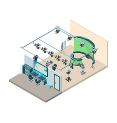 Tv studio interior television production room vector