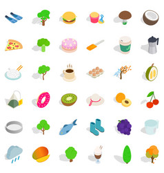 Vegetarian kitchen icons set isometric style vector