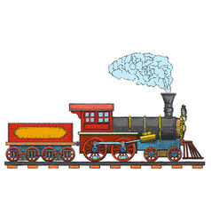 Vintage steam locomotive logo design vector