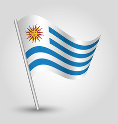 Waving simple triangle uruguayan flag vector