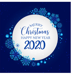 white blue merry christmas banner background vector image