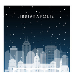 Winter night in indianapolis night city in flat vector