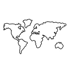 Worldwide map outline continents isolated black vector