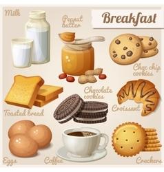 Breakfast 3 set of cartoon food icons vector