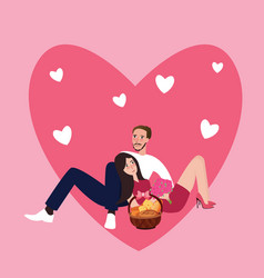 couple girl man together sleep sitting love shape vector image