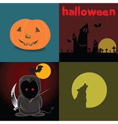 Cute Devil red eyes in Halloween night and design vector image