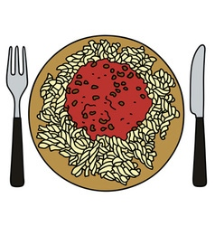 Pasta on the plate vector
