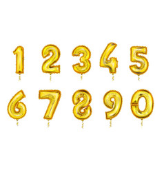 realistic balloon numbers set golden color vector image