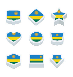rwanda flags icons and button set nine styles vector image vector image