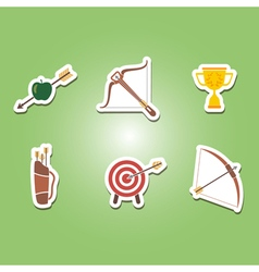 set of color icons with archery vector image vector image