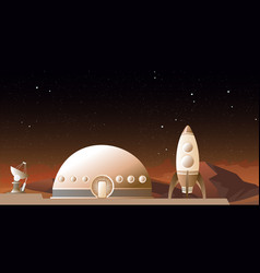 spaceship on mars or vector image