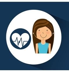 Athlete girl heart pulse sport style vector