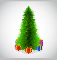 beautiful christmas tree and presents vector image vector image